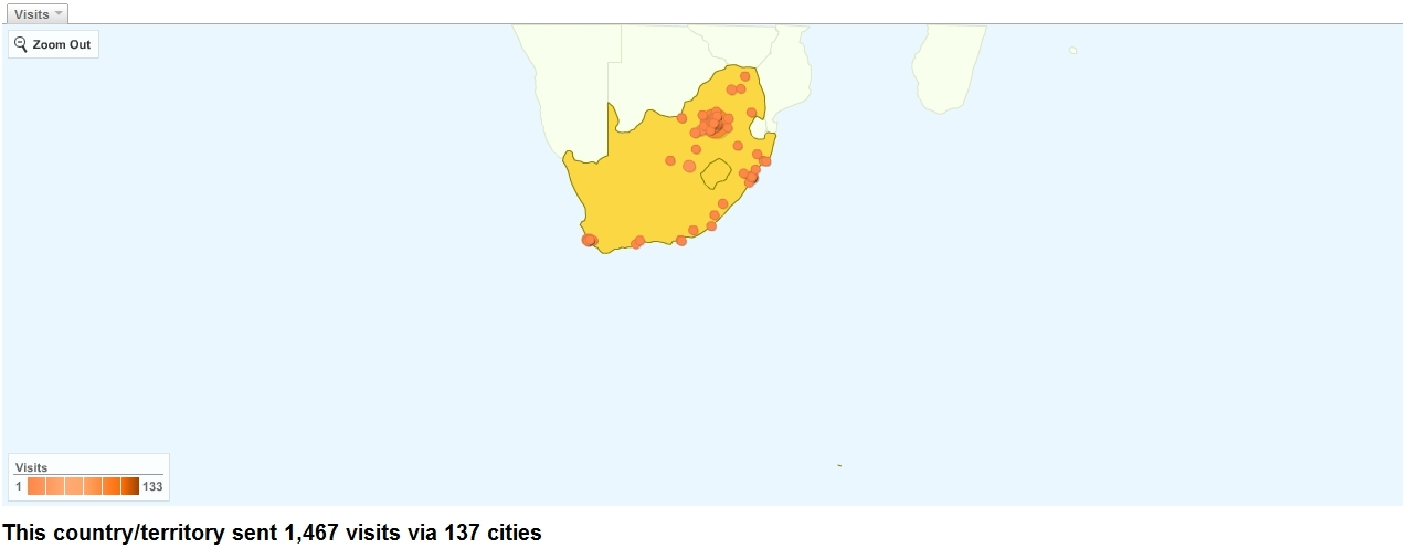 Site Usage South Africa as at 27 Feb 2010